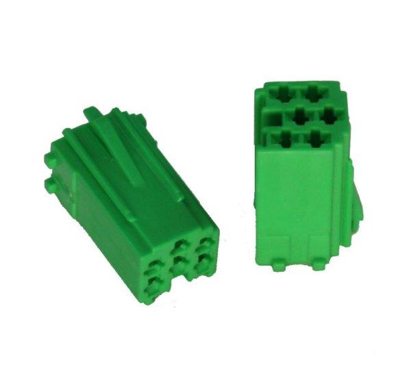 Mini-ISO-Buchsengehäuse 10er Beutel grün 6-pol.