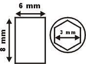 Innensechskant Schraube, M6x8